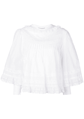 Burberry lace detail ruffle cape overlay top - White