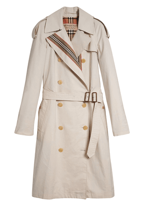 Burberry Heritage Stripe Cotton Gabardine Trench Coat - Grey