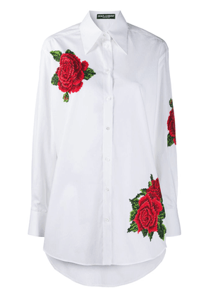Dolce & Gabbana embroidered rose buttoned shirt - White