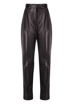 Dolce & Gabbana pleated tapered leather trousers - Brown
