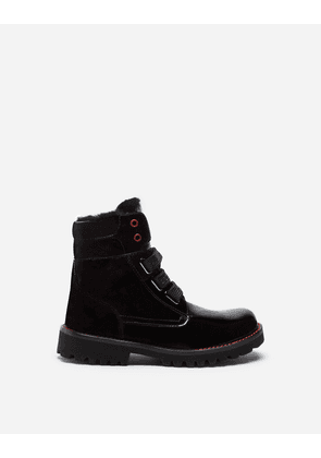 Dolce & Gabbana Shoes (24-38) - PATENT LEATHER ANKLE BOOTS WITH SHEEPSKIN LINING BLACK