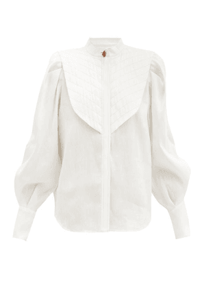 Aje - Motorcyclette Quilted-bib Linen-blend Shirt - Womens - White