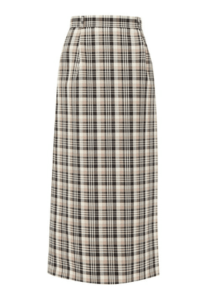 Edward Crutchley - Checked A-line Wool Maxi Skirt - Womens - Brown Multi
