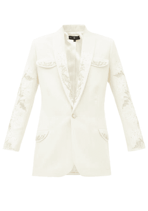 Edward Crutchley - Crystal-embellished Single-breasted Wool Jacket - Womens - Ivory
