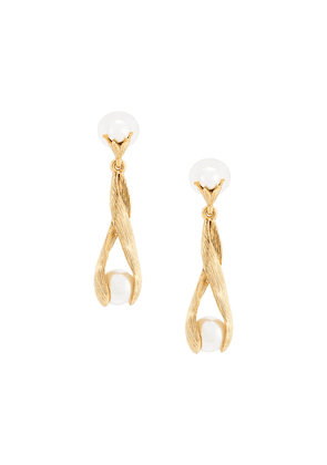 Oscar de la Renta twisted pearl-drop earrings - GOLD