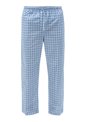 Derek Rose - Ledbury Geometric-print Cotton Pyjama Trousers - Mens - Blue Multi