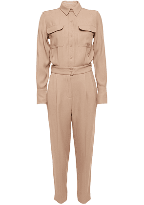 Equipment Pleated Twill Jumpsuit Woman Sand Size 12