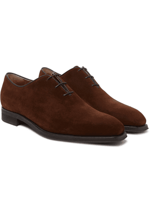 Berluti - Alessandro Infini Leather-Trimmed Suede Oxford Shoes - Men - Brown
