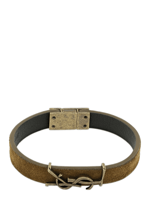 Ysl Logo Single Wrap Suede Bracelet