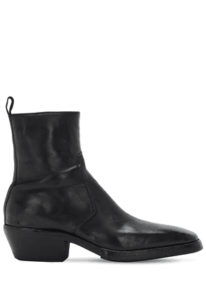 55mm Washed Leather Zip Boots