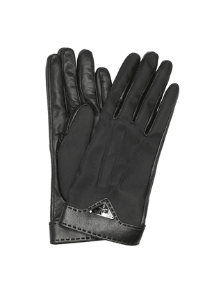 Logo leather and nylon gloves