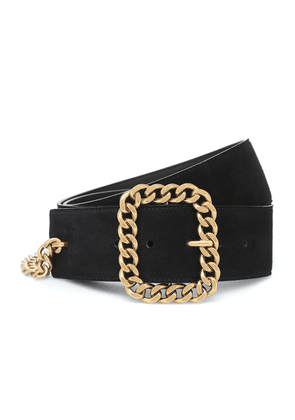 Chain-trimmed suede belt