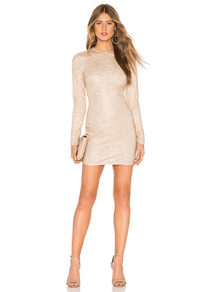 superdown Evie Sparkle Mini Dress in Metallic Gold. Size XXS.