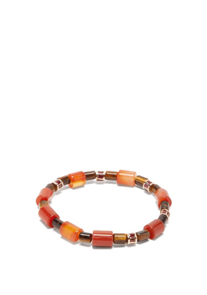 Luis Morais - Tiger's Eye And Ruby Beaded Bracelet - Mens - Gold Multi
