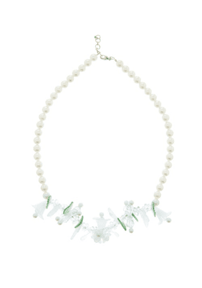 Shrimps - Sophia Faux-pearl And Floral-bead Necklace - Womens - Cream Multi