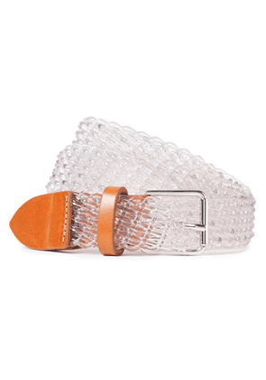 Iro Rogue Leather-trimmed Woven Belt Woman Clear Size 65