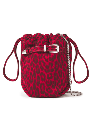 Iro Belty Buckled Leopard-print Suede Bucket Bag Woman Red Size --
