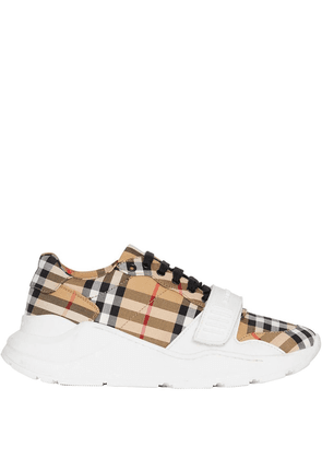 Burberry white, yellow and black Vintage Check Cotton Sneakers - Brown