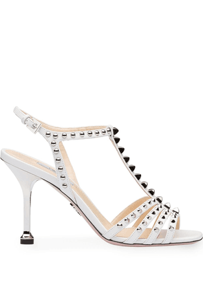 Prada studded T-strap sandals - White