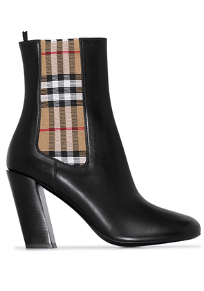 Burberry vintage check detail 90 ankle boots - Black