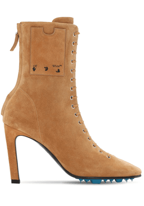 100mm Velour Suede Ankle Boots