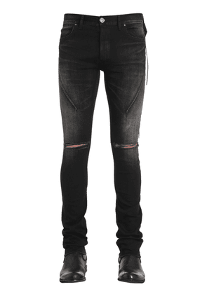 16cm Skinny Washed Broken Denim Jeans