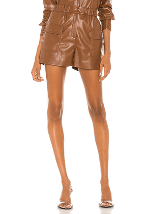 MSGM Leather Bermuda Shorts in Brown. Size 40/S,42/M,44/L.