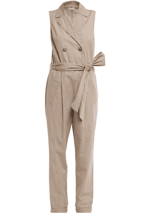 Brunello Cucinelli Double-breasted Belted Cotton-poplin Jumpsuit Woman Beige Size L