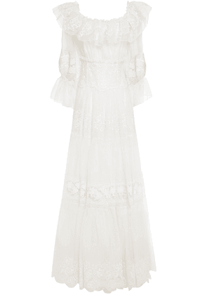 Dolce & Gabbana Ruffled Embroidered Organza Gown Woman Ivory Size 42