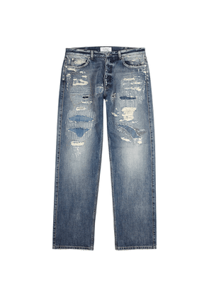 Givenchy Blue Distressed Straight-leg Jeans
