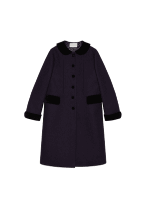 Wool coat with velvet details