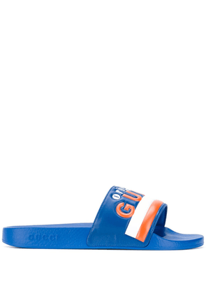 Gucci logo embossed sliders - Blue