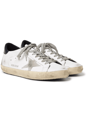 Golden Goose - Superstar Distressed Leather and Suede Sneakers - Men - White