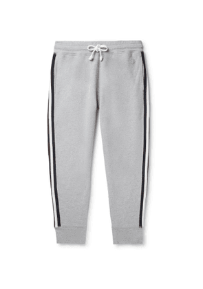 Kingsman - Slim-Fit Tapered Striped Cotton and Cashmere-Blend Jersey Sweatpants - Men - Gray