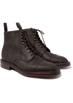 Kingsman - George Cleverley Taron Cap-Toe Roughout Leather Boots - Men - Brown