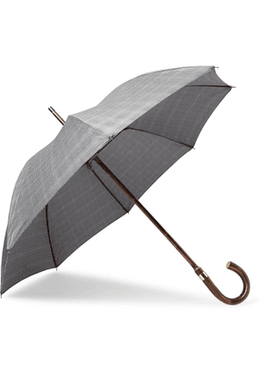 KINGSMAN - London Undercover Prince of Wales Checked Chestnut Wood-Handle Umbrella - Men - Black - one size