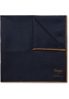 Kingsman - Drake's Wool and Silk-Blend Pocket Square - Men - Blue