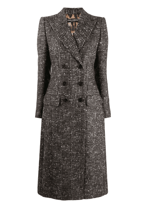 Dolce & Gabbana check double-breasted wool coat - Brown