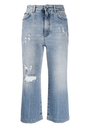 Dolce & Gabbana cropped distressed-finish denim jeans - Blue