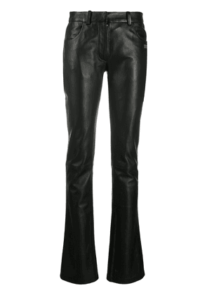 Off-White SKINNY FLARED LEATHER PANTS BLACK NO CO