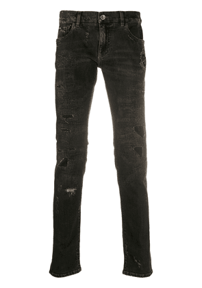Dolce & Gabbana logo-patch slim-fit jeans - Brown
