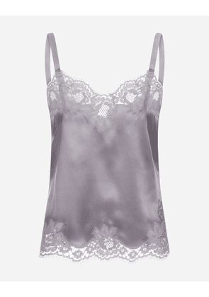Dolce & Gabbana Underwear - SATIN LINGERIE TOP WITH LACE GREY