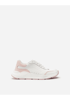 Dolce & Gabbana Shoes (24-38) - DAYMASTER SNEAKERS IN MULTICOLORED NAPPA CALFSKIN WHITE/PINK