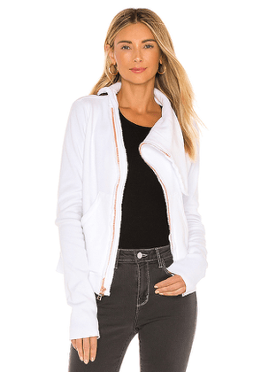 Frank & Eileen Asymmetric Zip Fleece Jacket in White. Size M,S,XS.