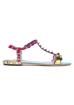 Dolce & Gabbana Studded Color-block Metallic And Patent-leather Sandals Woman Gold Size 35.5