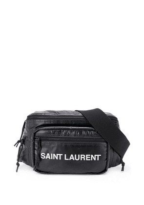 Saint Laurent logo-print padded belt bag - Black