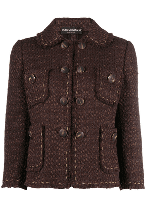 Dolce & Gabbana cropped-sleeve tweed jacket - Brown