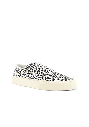 Saint Laurent Venice Low Top Sneaker in Latte+Black & Optic White - Animal Print,White. Size 42 (also in 43,44,45).
