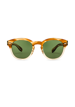 Oliver Peoples Cary Grant Sunglasses in Honey & Green Wash - Brown,Neutral. Size all.
