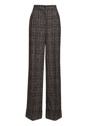 High Waist Check Wide Leg Pants